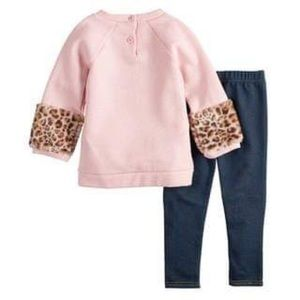 Little Lass Matching Sets - Cat Sequin Glitter Sweatshirt/Embroidered Jeggings